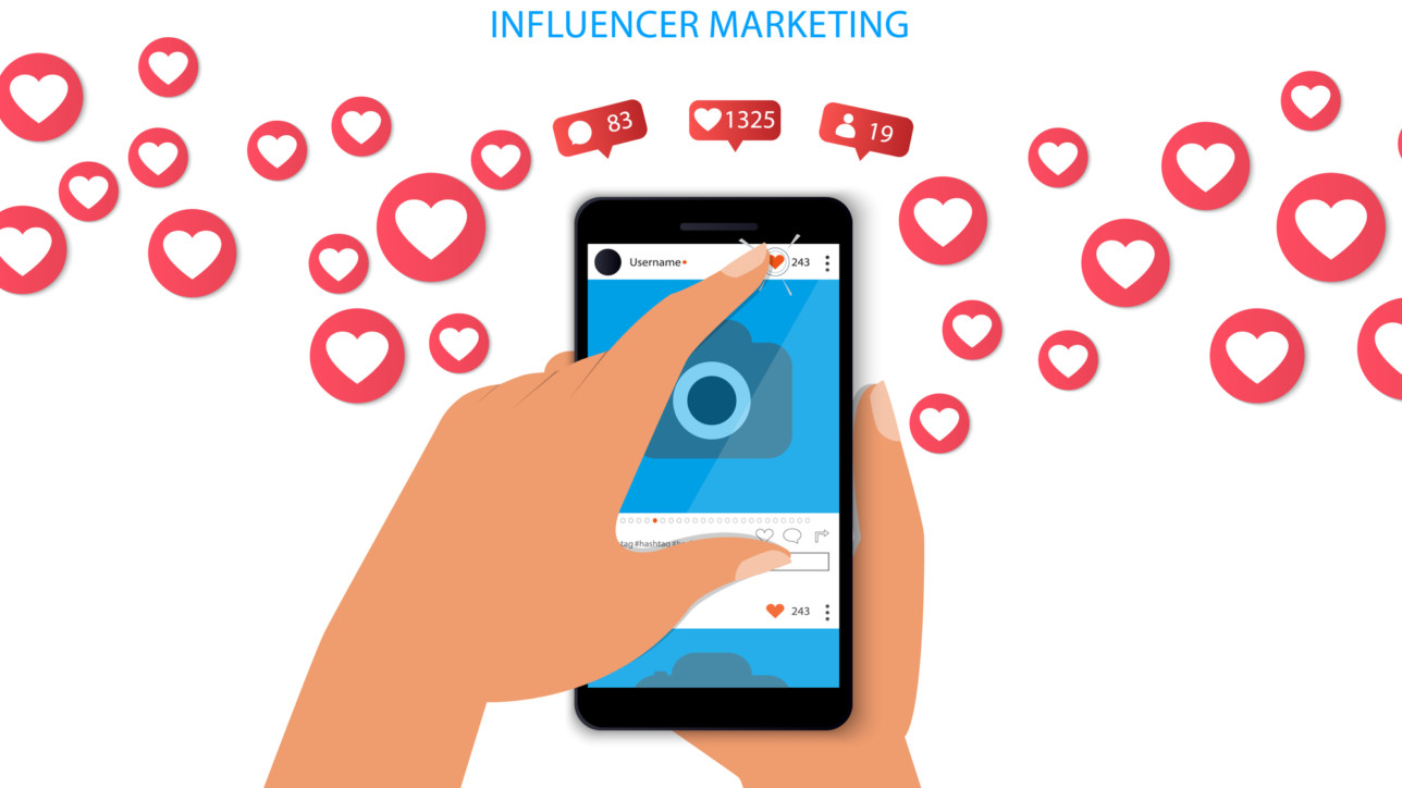 Influencer marketing concept with hand holding smartphone and like and hearts Illustration.